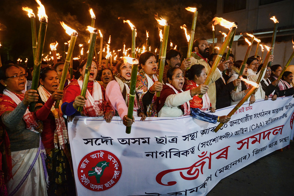 Activists of All Assam Students Union take part in a rally against the amended Citizenship Act in Guwahati