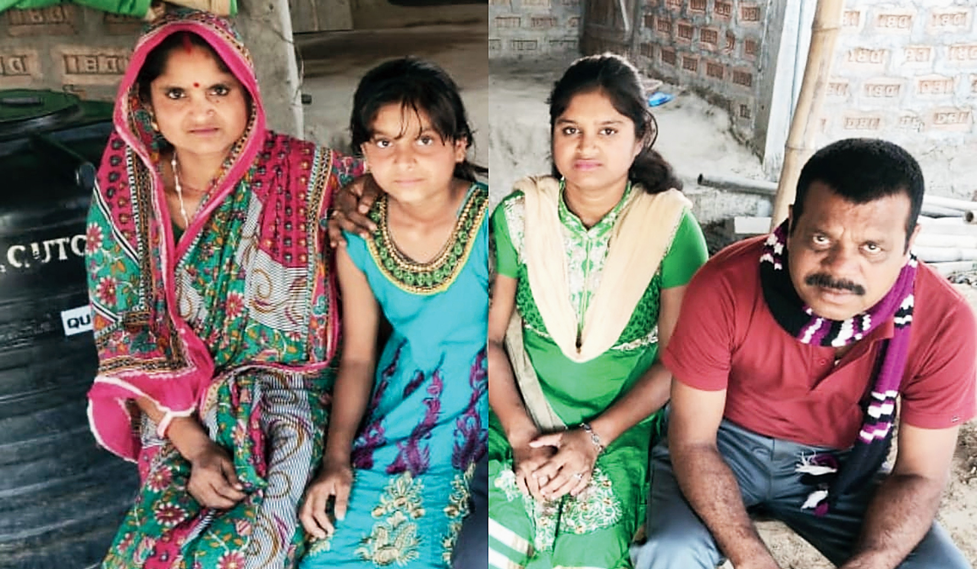 Dilip and Rumani Biswas with their daughters.
