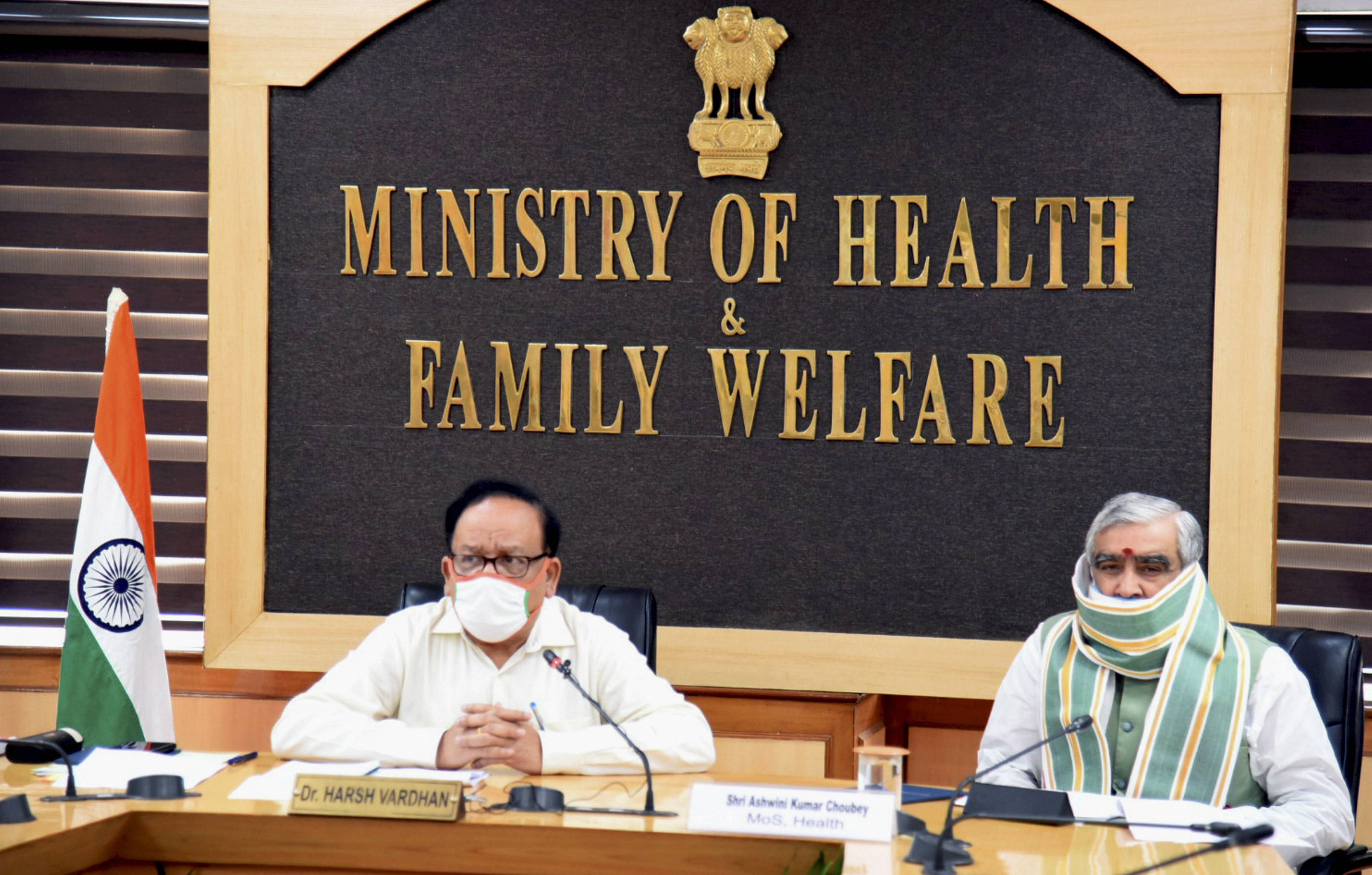 Health Minister Dr Harsh Vardhan chairs a high-level review meeting with Lt. Governor of Delhi Anil Baijal, Delhi Health Minister Satyendra Jain, various District Magistrates, Commissioners & Mayors of Delhi on status, preparations & management of Covid-19 in various districts of NCT of Delhi.