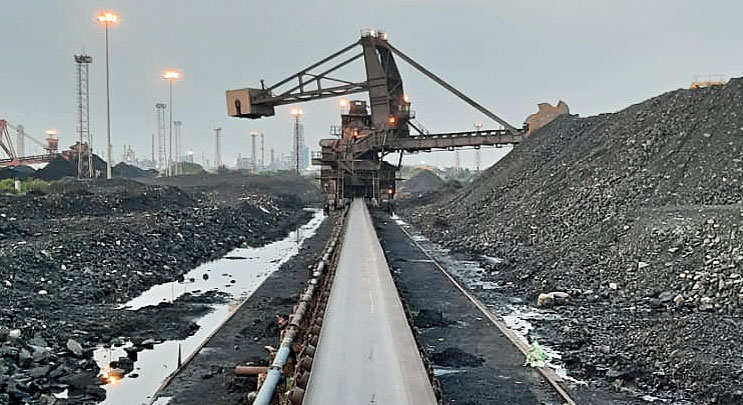 Coal accumulated at the port