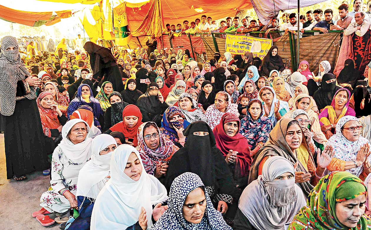 Women at a sit-in against the CAA, NRC and the NPR at Shaheen Bagh on Sunday.