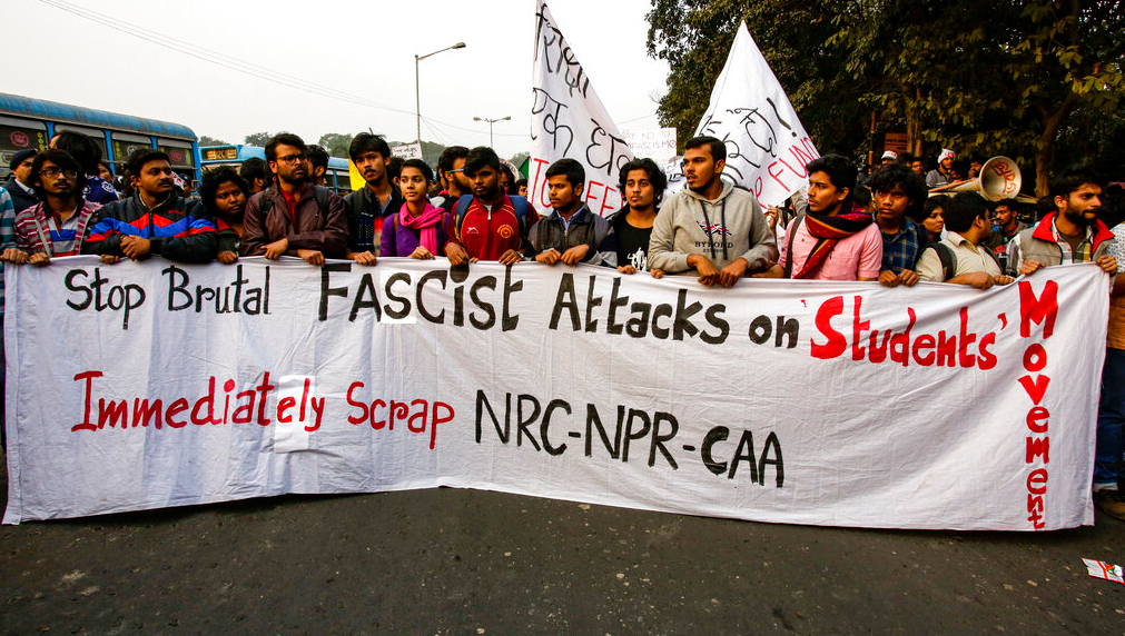 Students participate in a protest rally against the Citizenship Amendment Act, in Calcutta, on December 21, 2019.