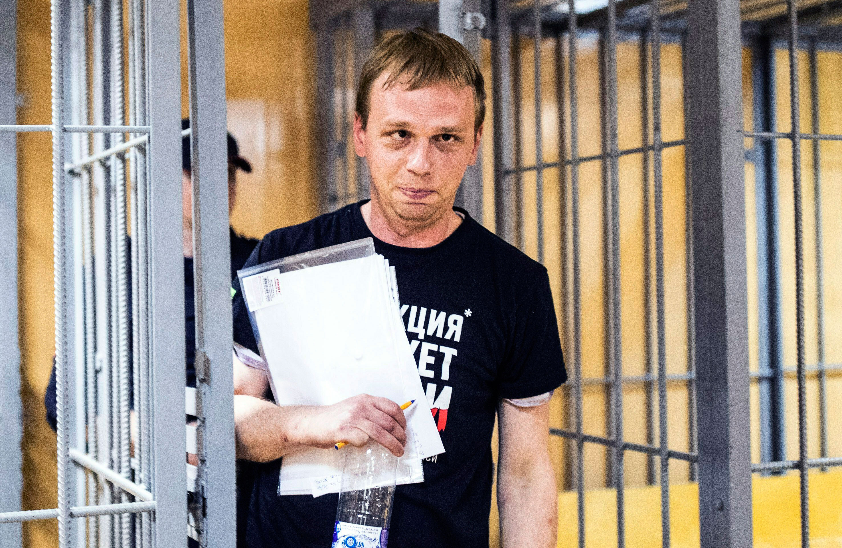 In this photo taken on June 8, 2019, Ivan Golunov leaves a courtroom in Moscow, Russia.