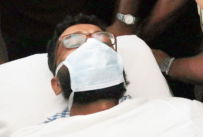 Venkitaraman being shifted to the governement hospital from the private hospital in Thiruvananthapuram on Sunday.