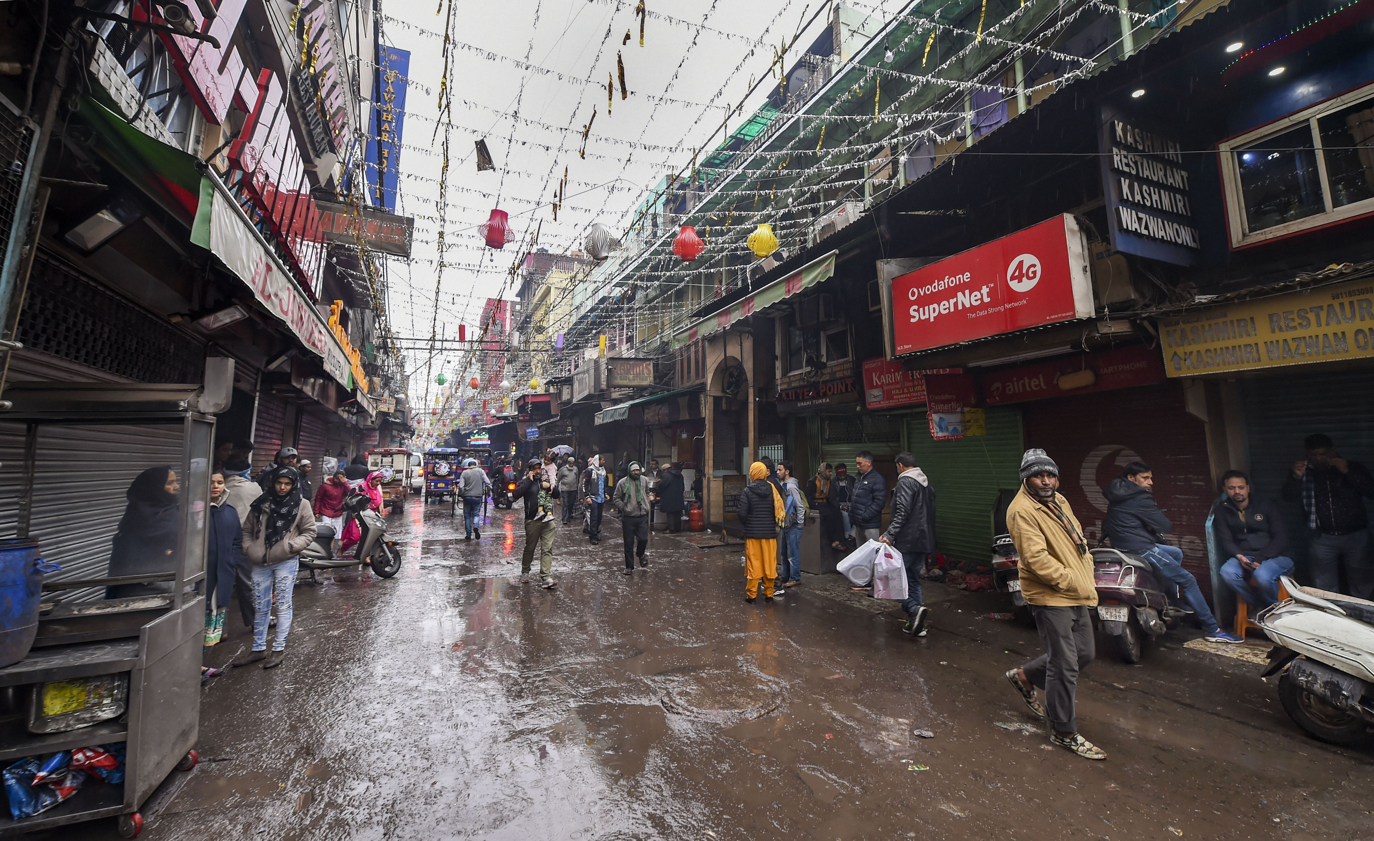 Shops in a market near the Jama Masjid remained closed  due the trade unions' nationwide strike against the central government's alleged