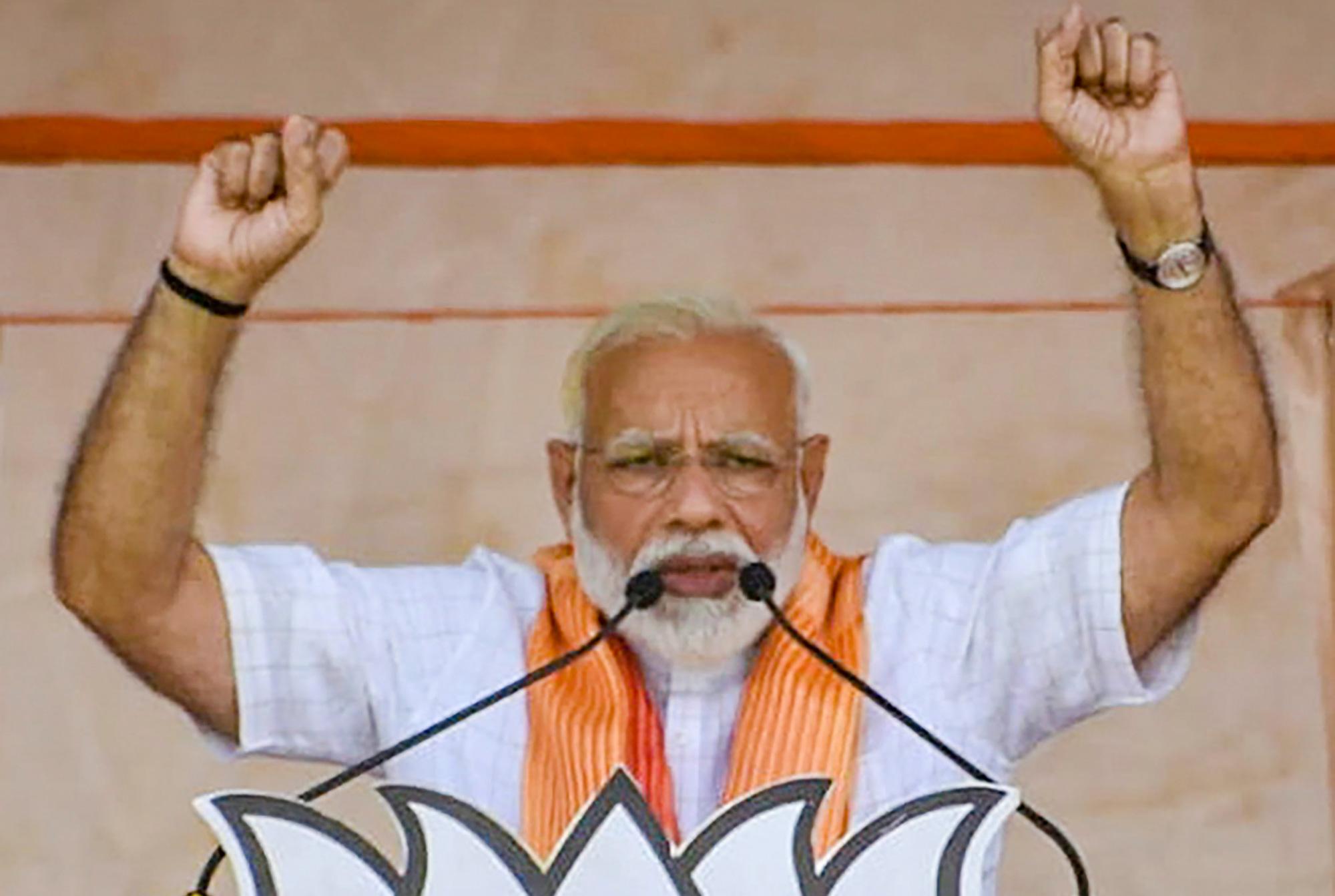 Prime Minister Narendra Modi addresses an election campaign for Lok Sabha polls, in Sitapur on Saturday, April 27, 2019.