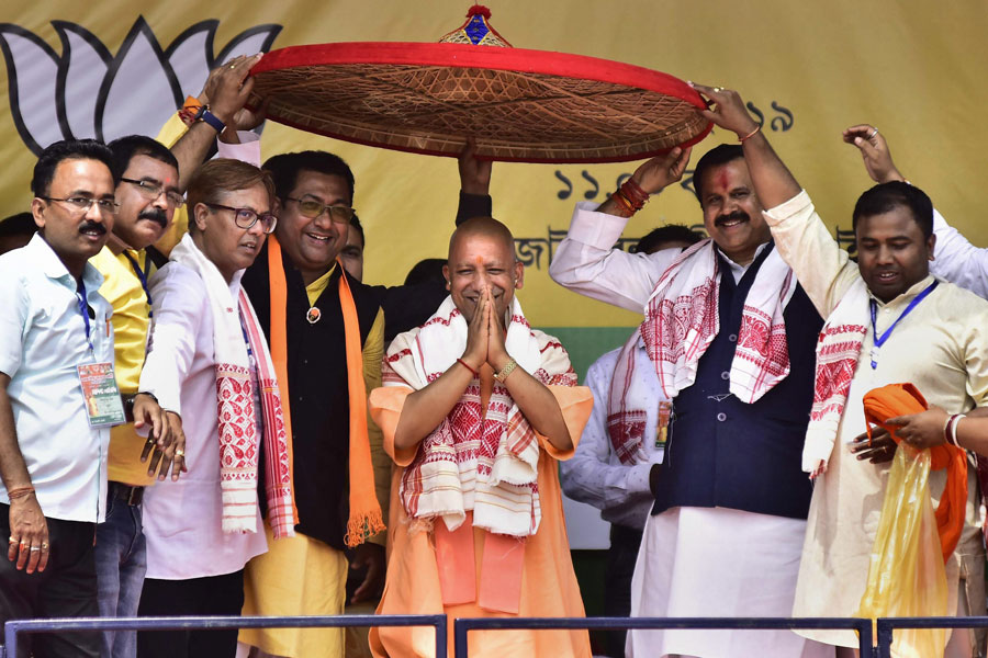 UP Chief Minister Yogi Adityanath at an election rally in support in Hojai district of Assam on Saturday, April 6, 2019.