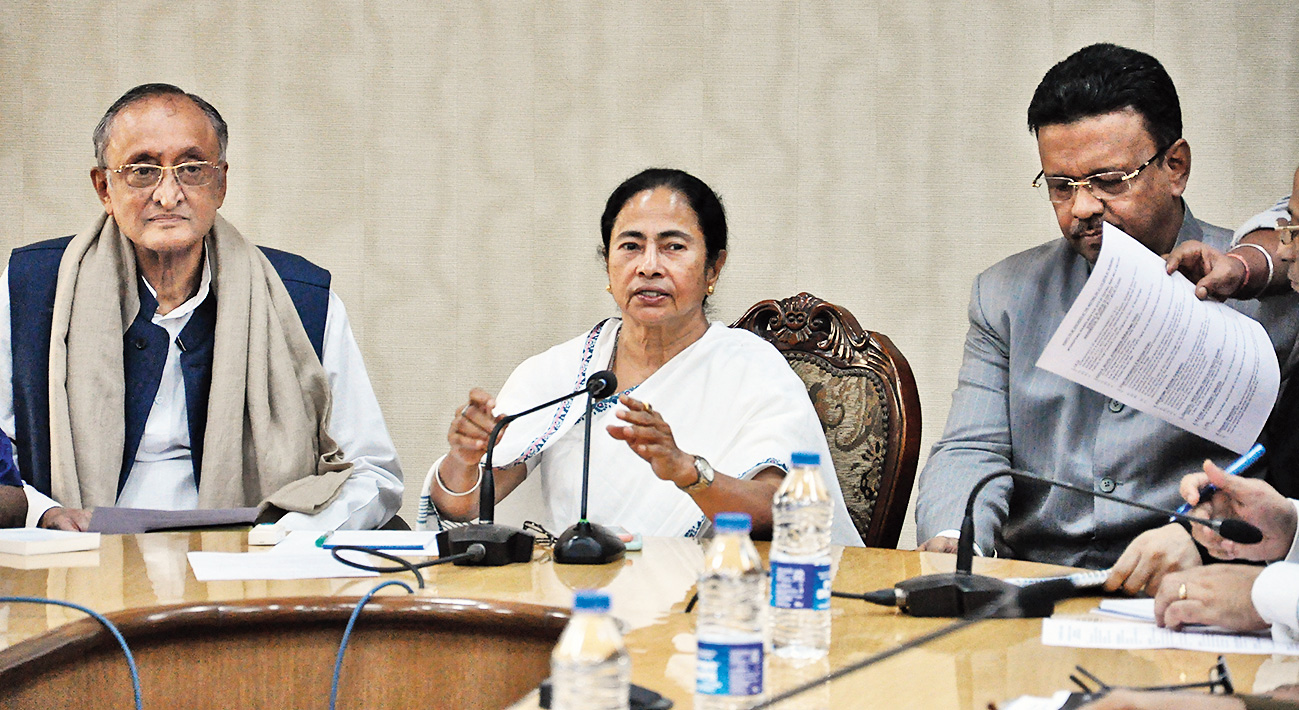 Chief Minister Mamata Banerjee at Nabanna on Monday.
