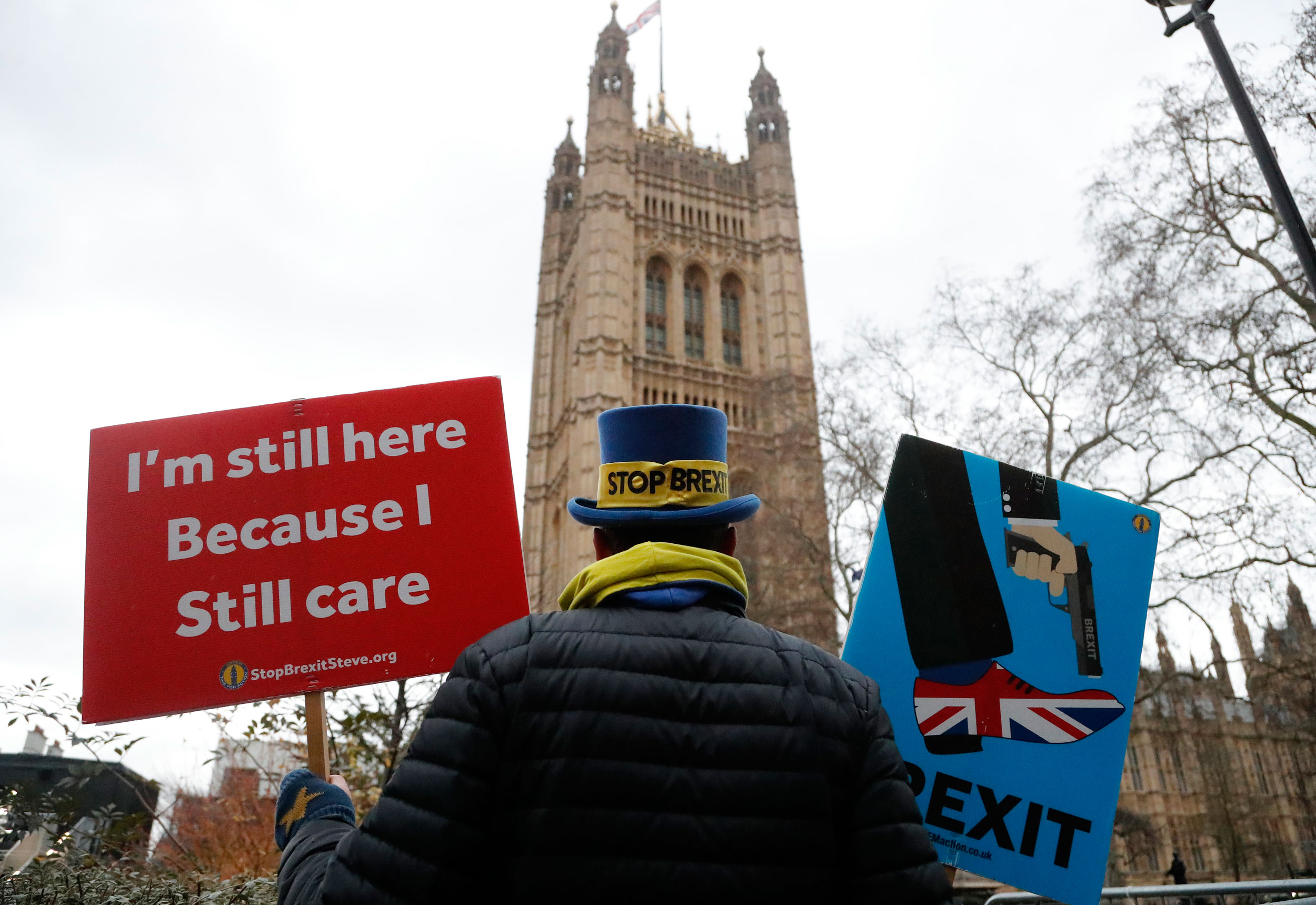 Anti-Brexit protester Steve Bray stands near Parliament in London on December 19, 2019.