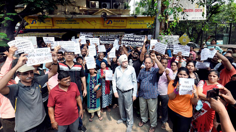 PMC Bank depositors at a protest in Andheri, Mumbai. The decision assumes significance in the wake of a scam in the bank, affecting lakhs of customers who are facing difficulties in withdrawing their money because of the restrictions imposed by the RBI