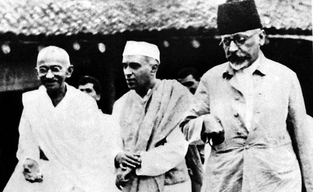 Mahatma Gandhi with Jawaharlal Nehru and Abul Kalam Azad in Wardha in August 1935
