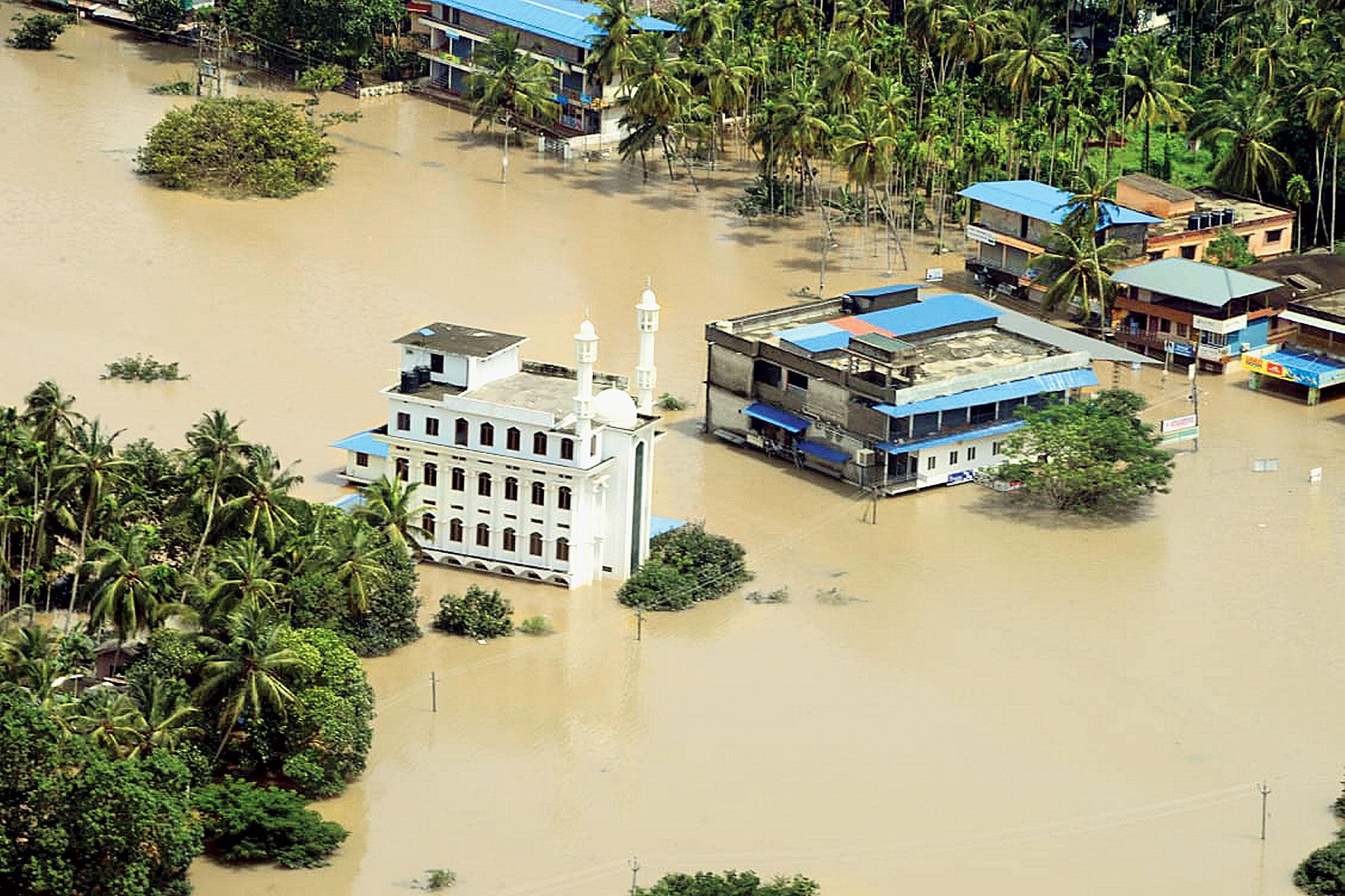 A flood-affected region in Malappuram in north Kerala on Sunday.