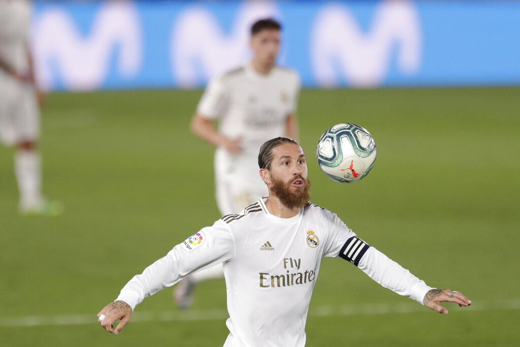 Real Madrid's Sergio Ramos eyes the ball during the La Liga match between Real Madrid and Mallorca at Alfredo di Stefano stadium in Madrid on Wednesday
