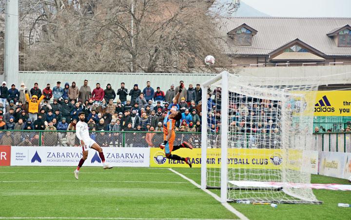 Mohun Bagan goalkeeper Shankar Roy makes a save in Srinagar on Sunday.