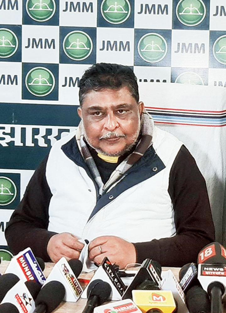 Supriyo Bhattacharya at the news meet in Ranchi on Sunday.