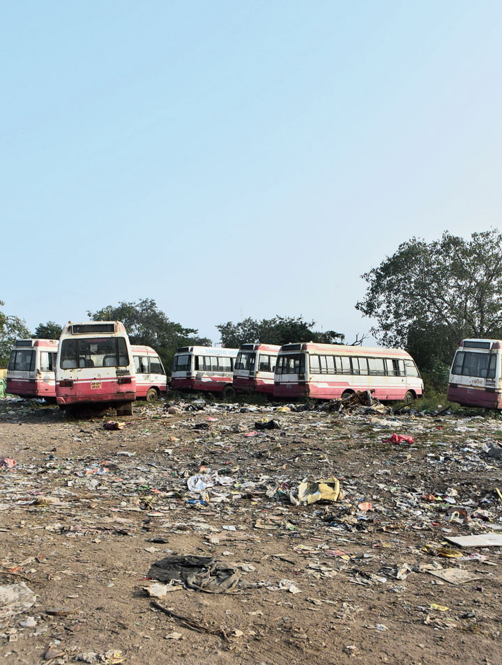 City buses gather dust at Bartand in Dhanbad on Wednesday.