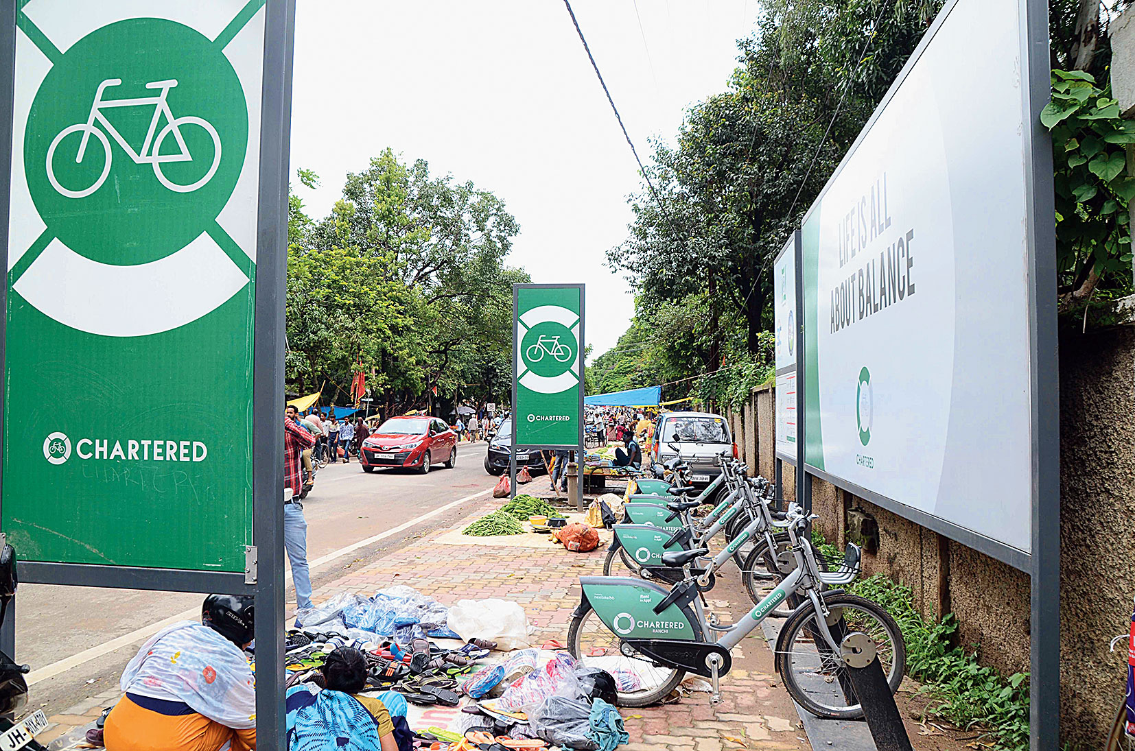 A parking stand for app cycles at Bahubazaar in Ranchi on Wednesday.