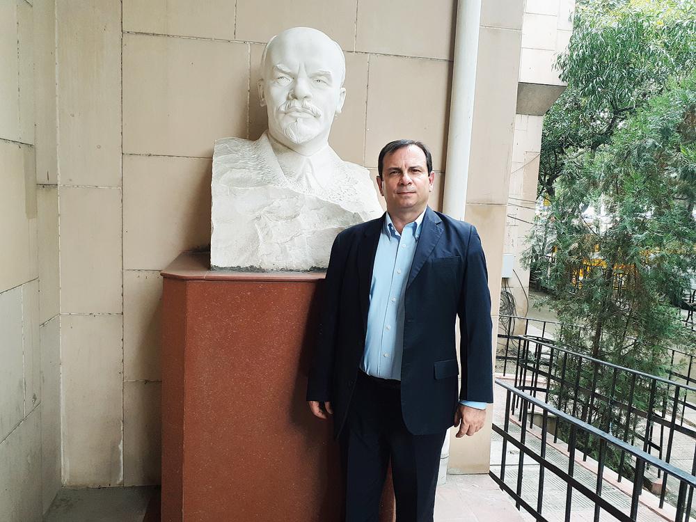Fernando González Llort outside the CPM central committe office in New Delhi