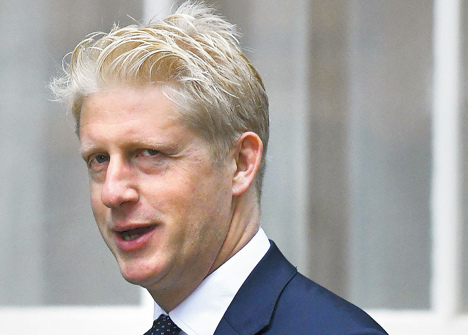 Jo Johnson outside the British Prime Minister's residence on Wednesday.
