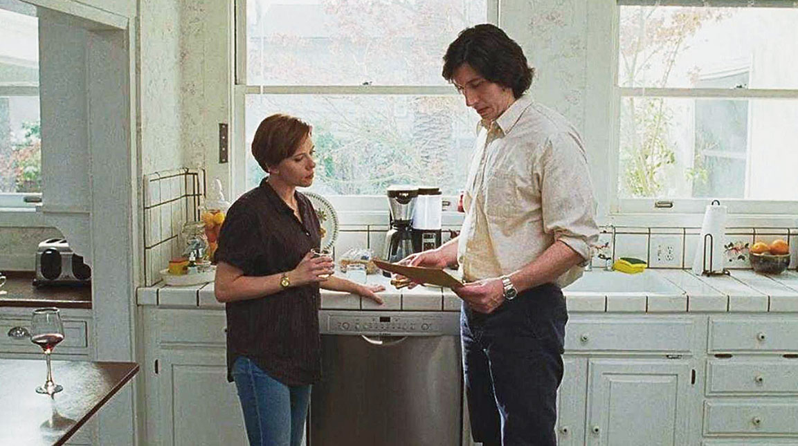 Adam Driver with Scarlett Johansson in Marriage Story, for which he's slated to be nominated for a Best Actor Oscar