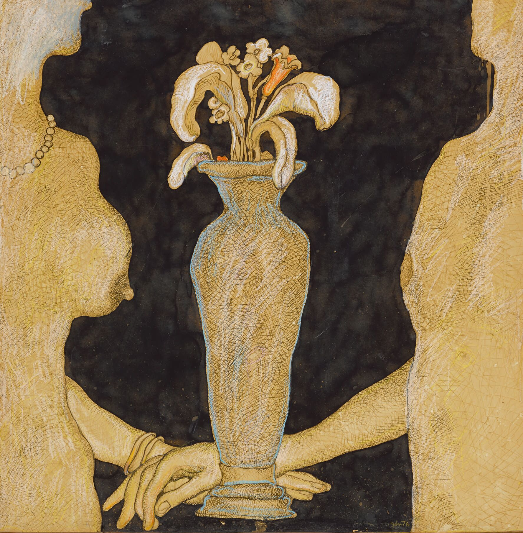 The Grey Vase, gouache, pastel and ink on paper by Jogen Chowdhury. Estimate: $40,000-60,000