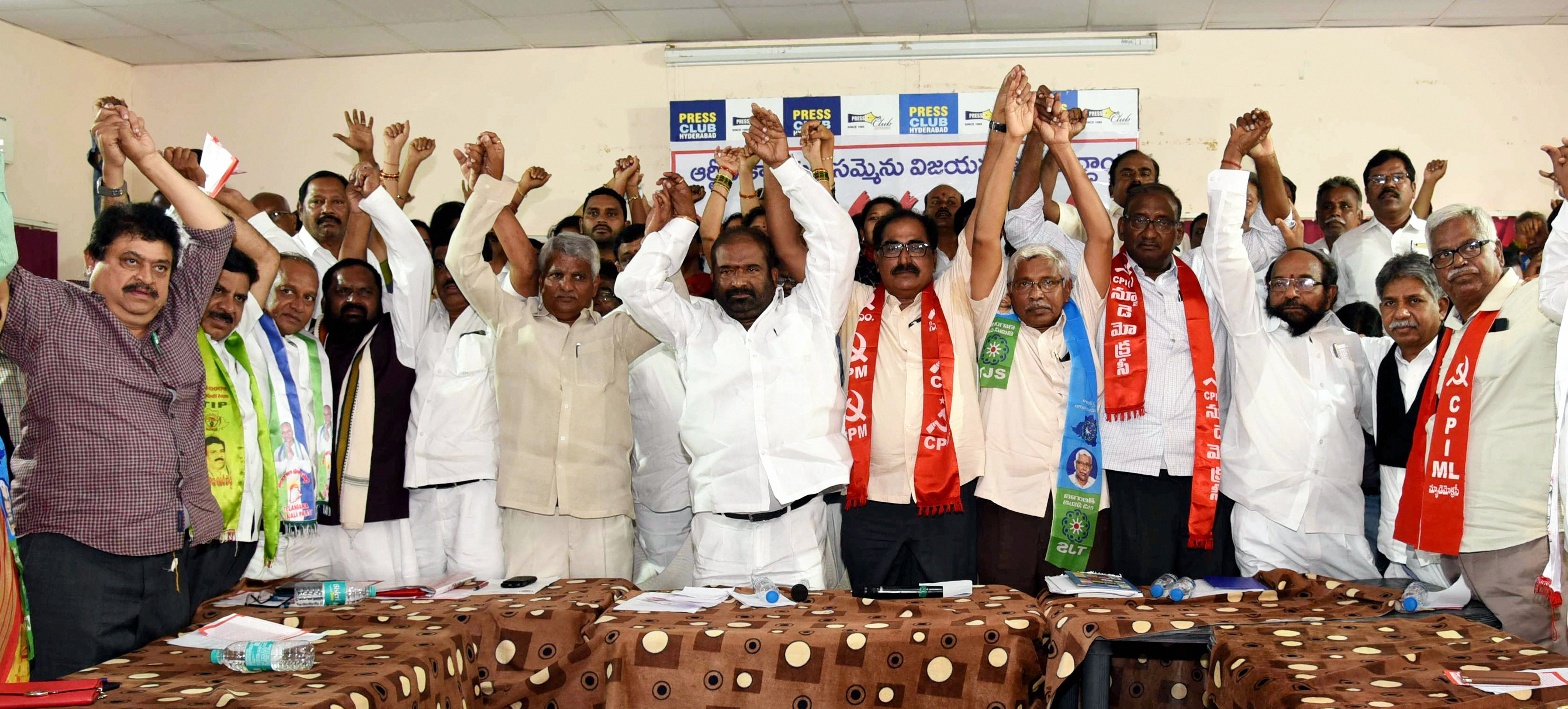 Representatives of different political parties including CPI, CPI(M), Telangana Jana Samithi, Congress, TDP and BJP attend the Telangana State Road Transport Corporation joint action committee meeting at Press Club in Hyderabad, Wednesday, October 9, 2019.