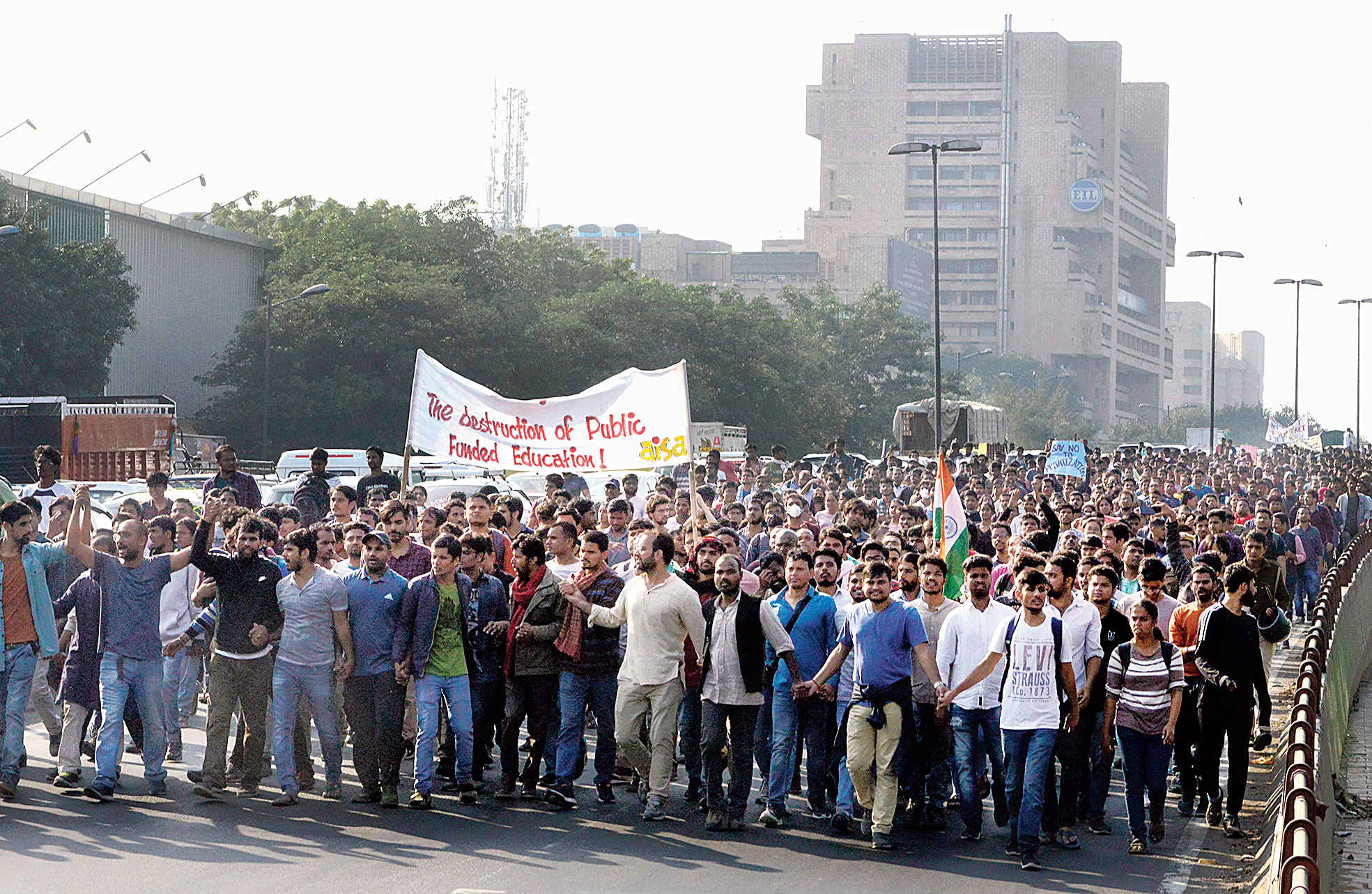 JNU students at the protest march in New Delhi on Monday against the hostel fee hike.