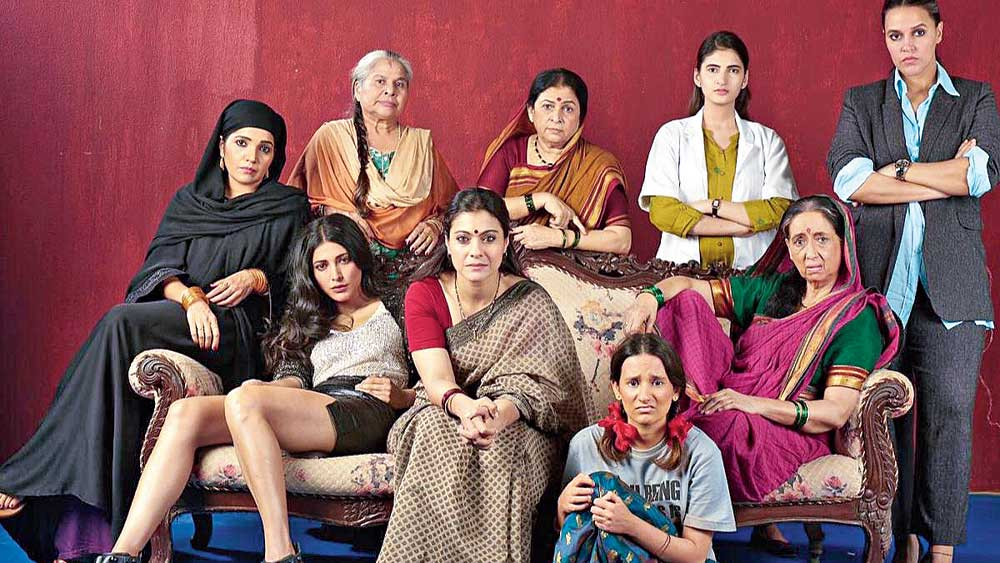 Kajol (centre) with the rest of the cast of 'Devi'