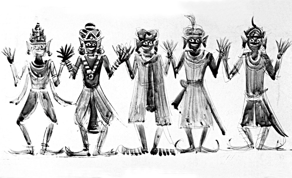 One of several sketches of the 'Bhooter Naach' (the dance of the ghosts) sequence by Satyajit Ray