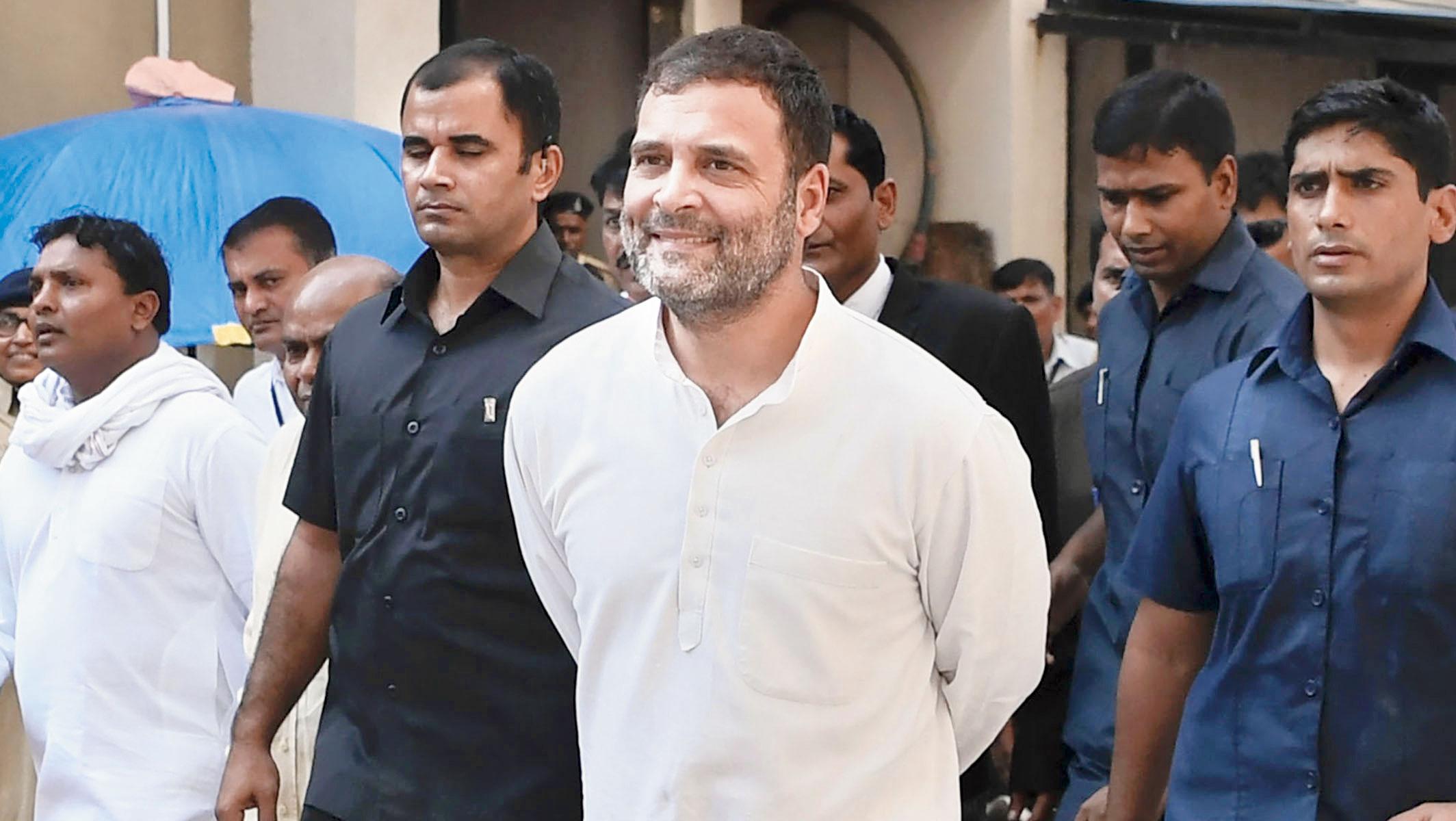 Rahul Gandhi outside the court in Surat on Thursday.