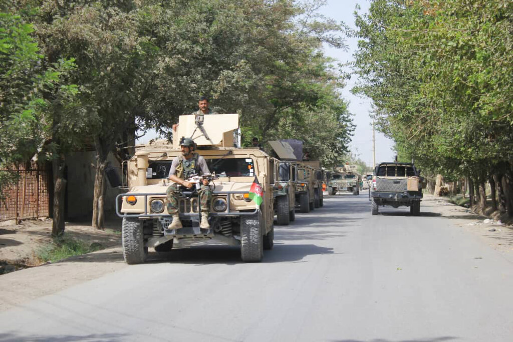 Afghan security forces arrive during a fight against Taliban fighters in Kunduz province north of Kabul, Afghanistan, on Saturday, August 31, 2019.
