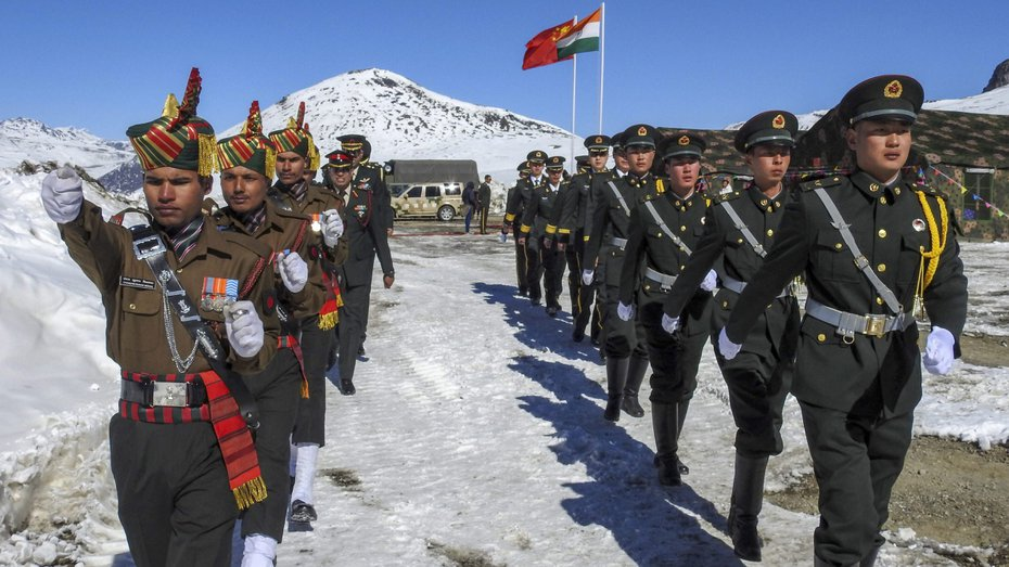 Indian and Chinese soldiers celebrate the 2019 New Year at Bumla along the India-China border in Arunachal Pradesh.