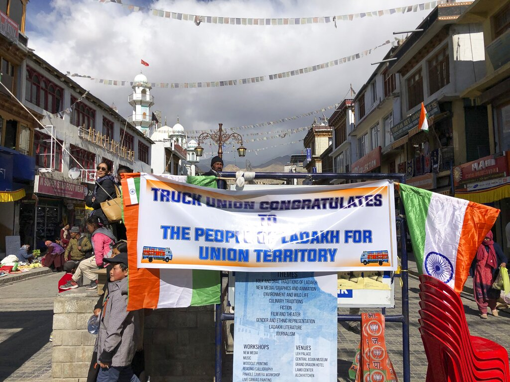 A banner is seen in a market as people celebrate Ladakh's new status as a Union Territory in Leh, on Thursday, October 31, 2019.