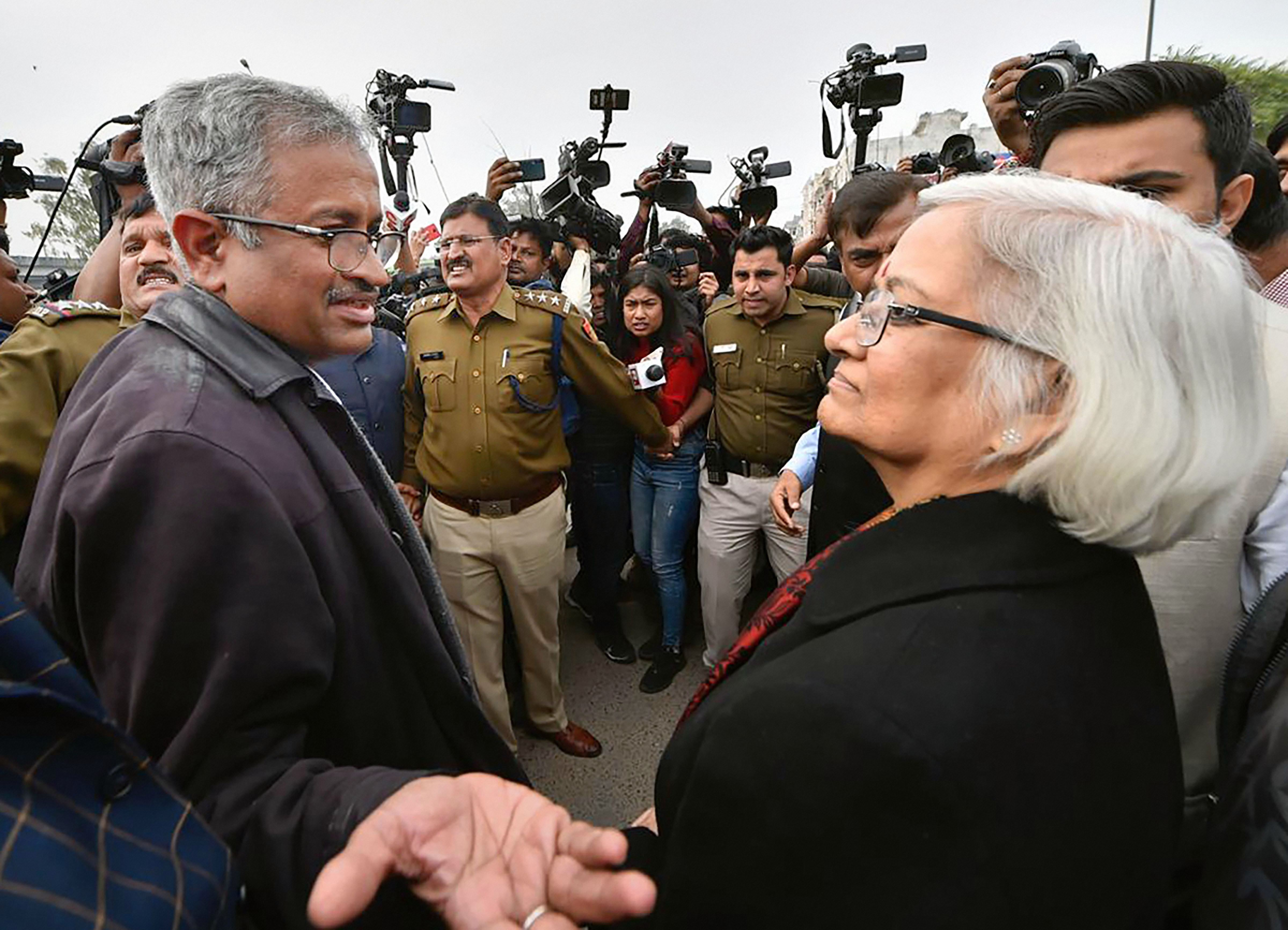 Sanjay Hegde and Sadhana Ramachandran - mediators appointed by Supreme Court - at Shaheen Bagh in New Delhi, Wednesday, February 19, 2020