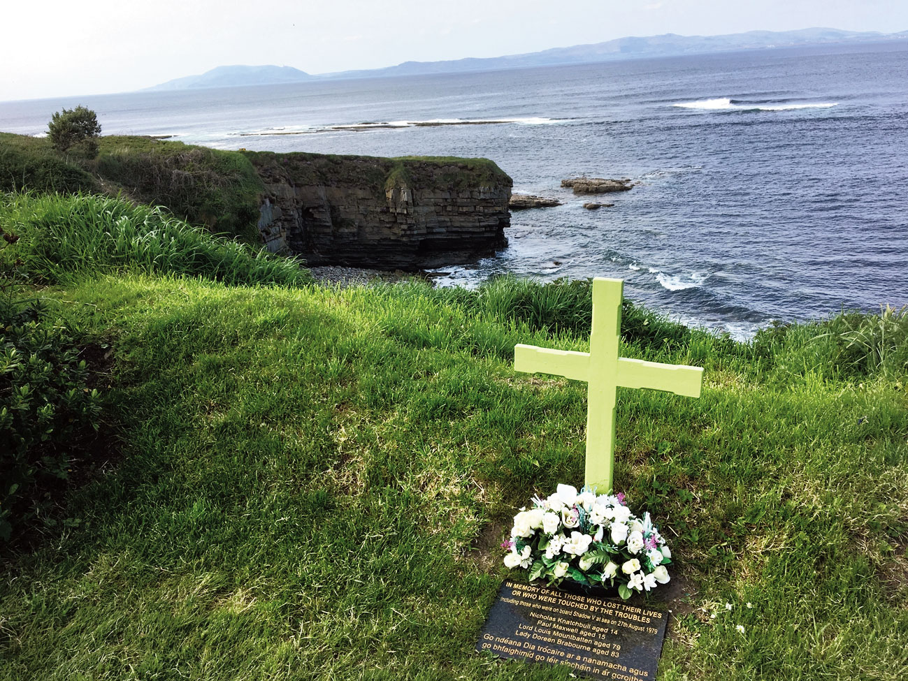 The Mullaghmore Memorial Cross commemorating the death of Mountbatten, together with family and friends on board the Shadow V on 27 August 1979.