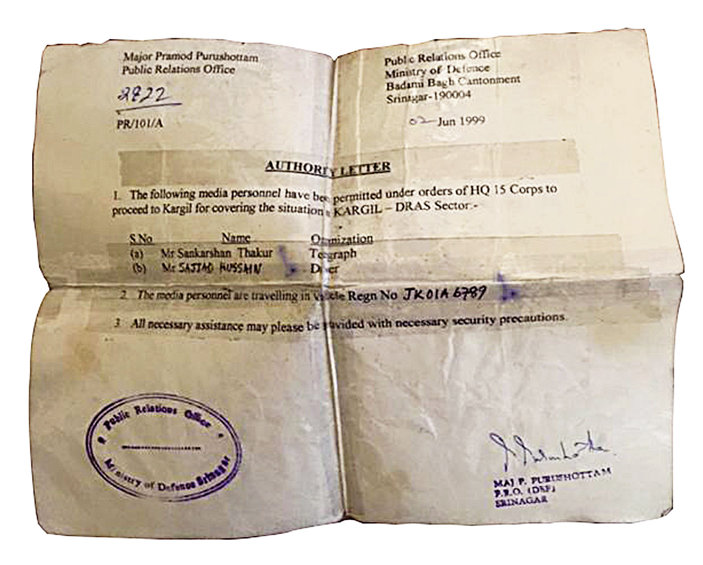 Parchment showing the author and driver Sajjad Hussain's military permit