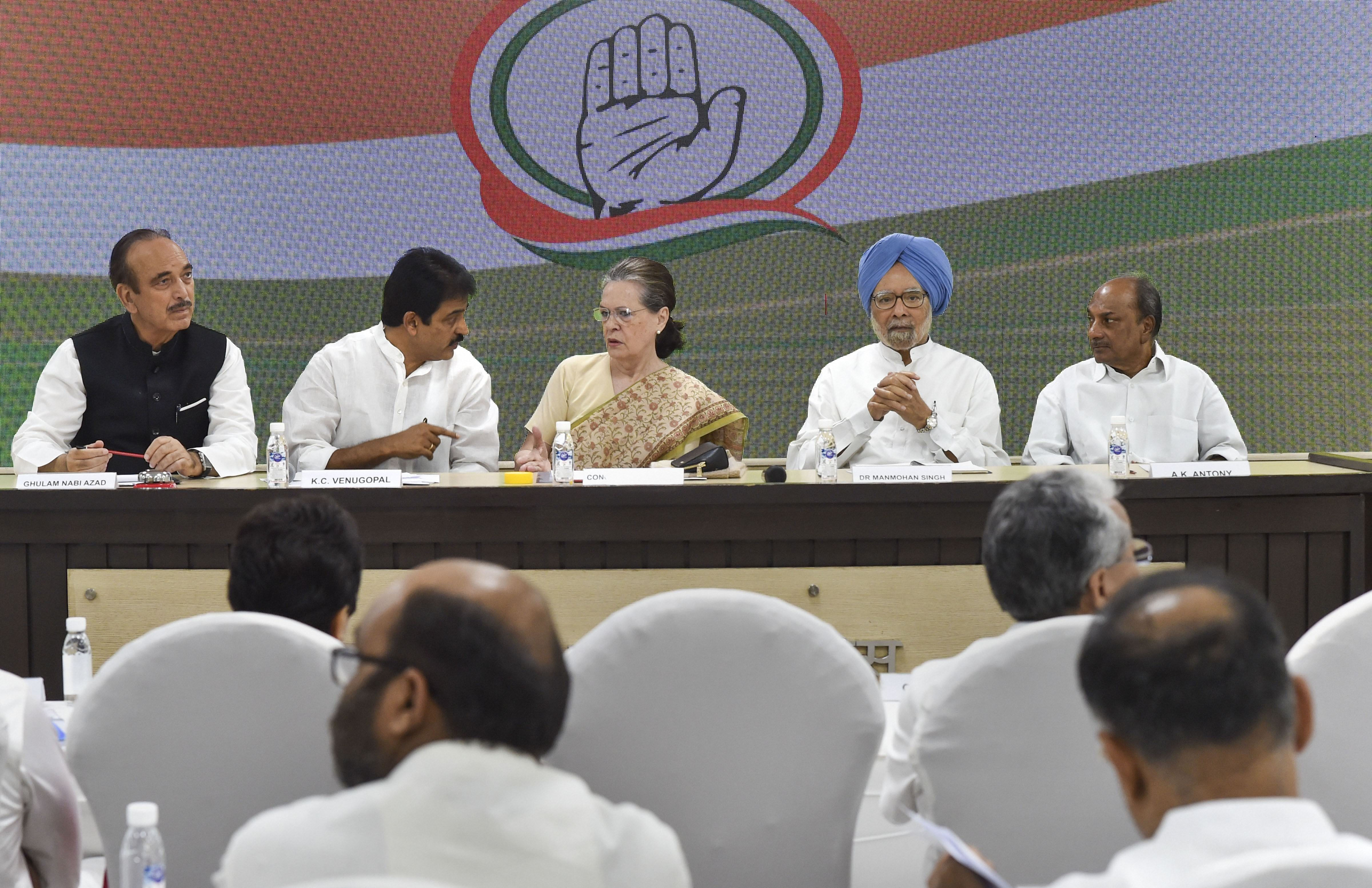 Congress president Sonia Gandhi, flanked by former prime minister Manmohan Singh and senior leaders Ghulam Nabi Azad, AK Antony and KC Venugopal, chairs a party meeting to discuss plans for the 150th birth anniversary of Mahatma Gandhi, at AICC HQ in New Delhi on Thursday, September 12, 2019.