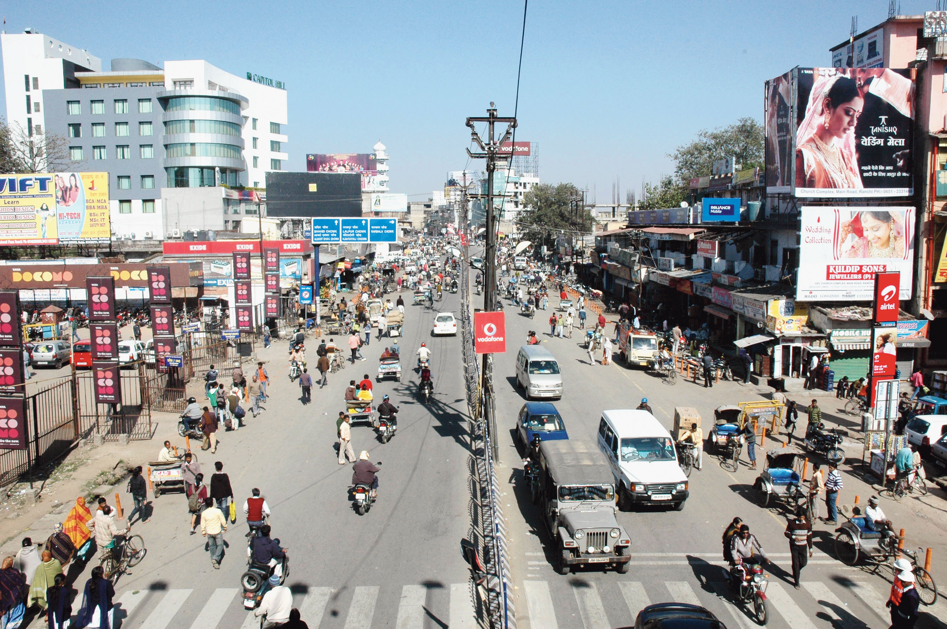 Main Road in Ranchi where the area around Sadar Hospital will be one of the wi-fi hotspots.