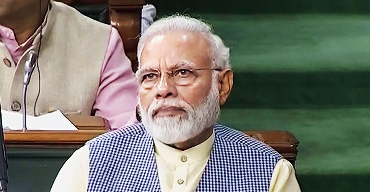 Narendra Modi in the Lok Sabha on Tuesday.