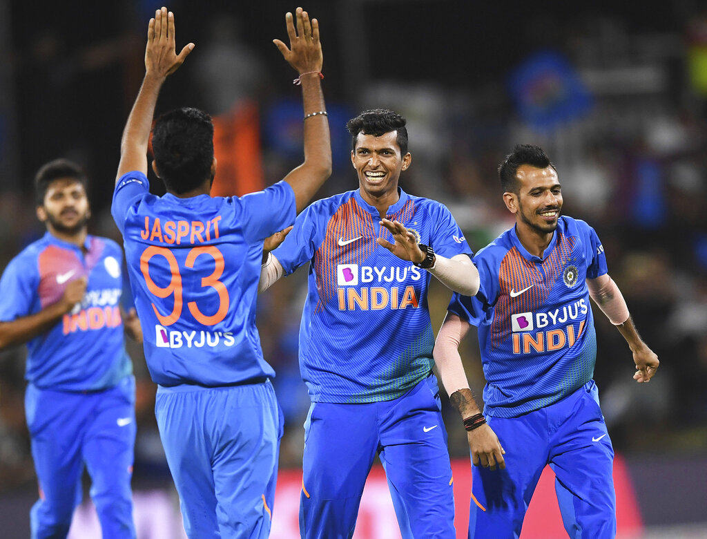 Navdeep Saini celebrates the wicket of Ross Taylor during the T20 international between India and New Zealand at Bay Oval in Mt Maunganui, New Zealand, Sunday, February 2, 2020