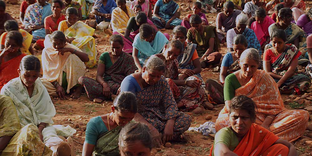 Rural workers at a protest in Tiruchirappalli, Tamil Nadu. Votaries of a universal basic income argue that it would give an opportunity to the poverty-stricken sections of society to maintain a sustainable livelihood.