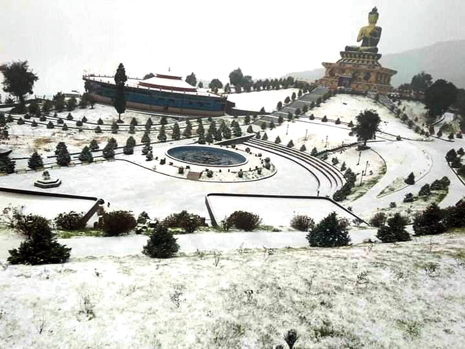 The snow-clad Ravangla in Sikkim on Friday.