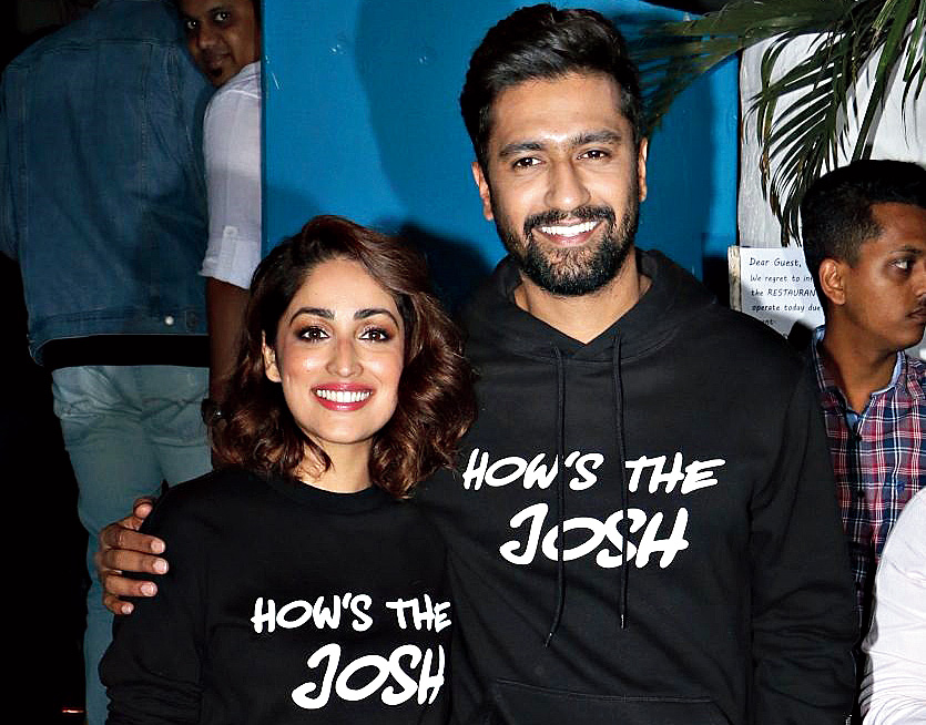 Yami Gautam with co-star Vicky Kaushal at the Uri success bash in Mumbai recently.