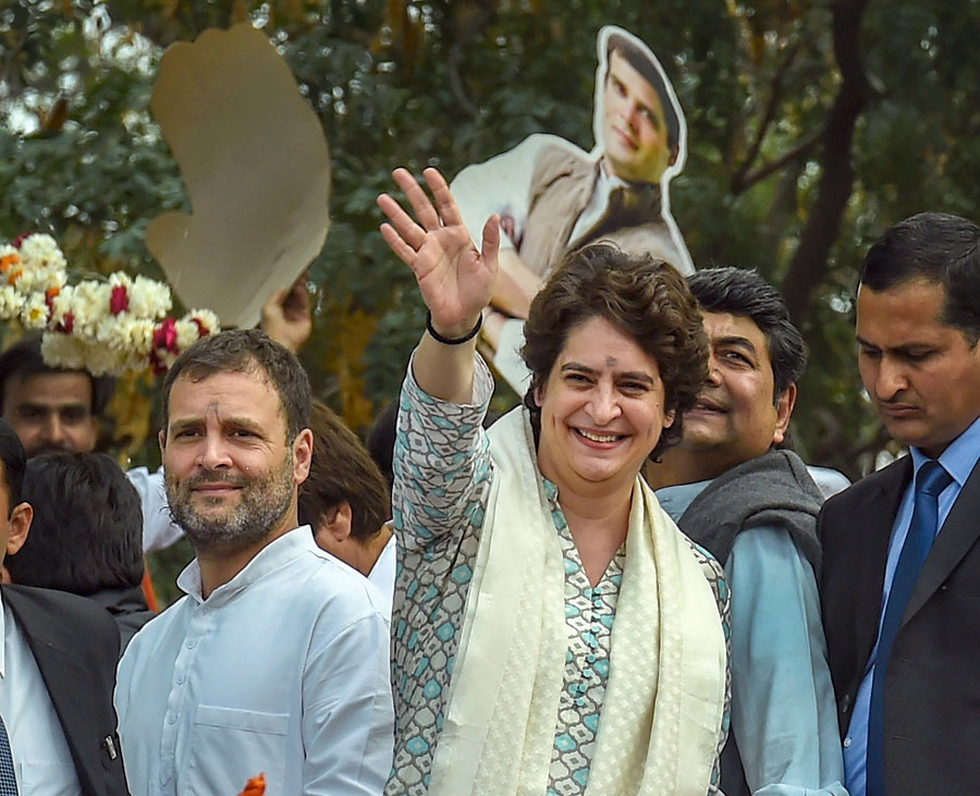 Rahul Gandhi and Priyanka Gandhi Vadra during a roadshow in Lucknow on Monday.