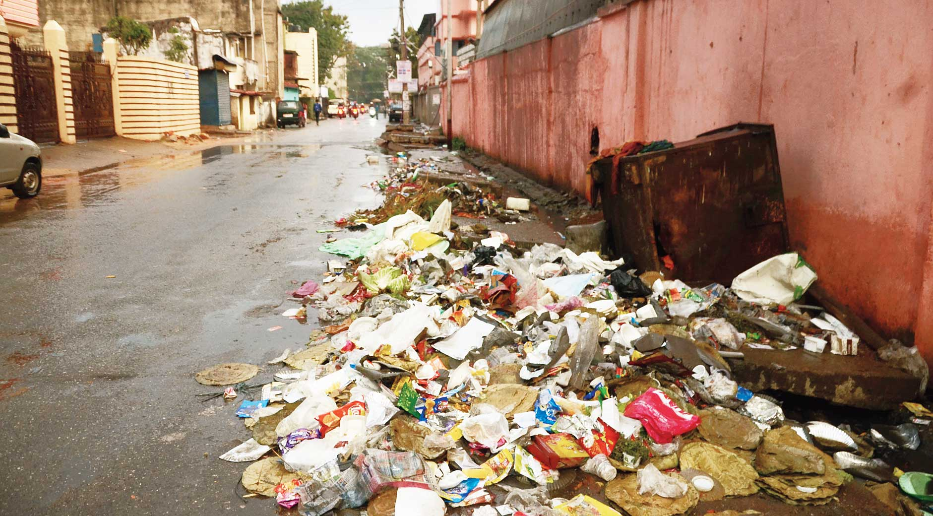Garbage lies unattended at BK Sahay Compound in Tharpakhna, Ranchi, on Thursday.