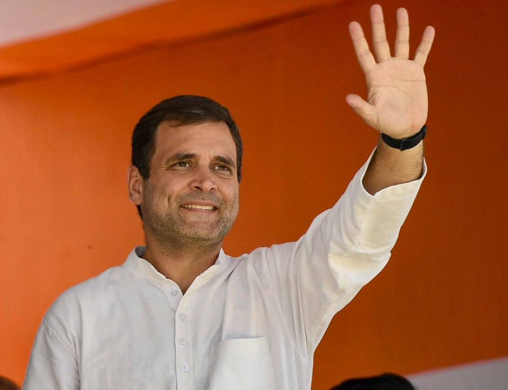 Congress President Rahul Gandhi during an election rally in Barabanki on Wednesday, May 1, 2019.