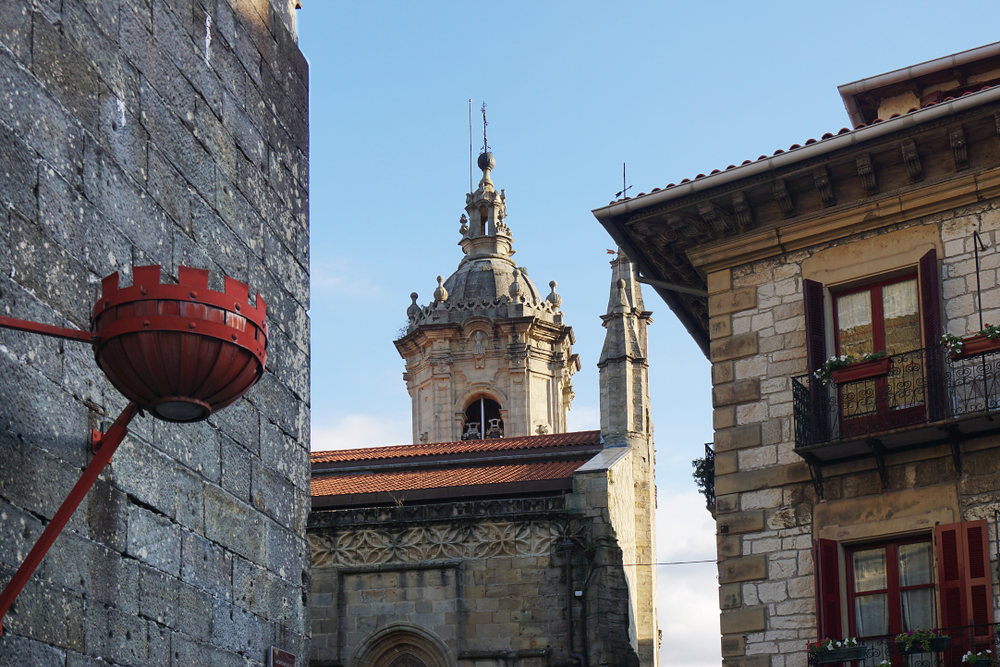 Historical stone houses in Hondarribia in basque country in northern spain. Image used for representational purpose.