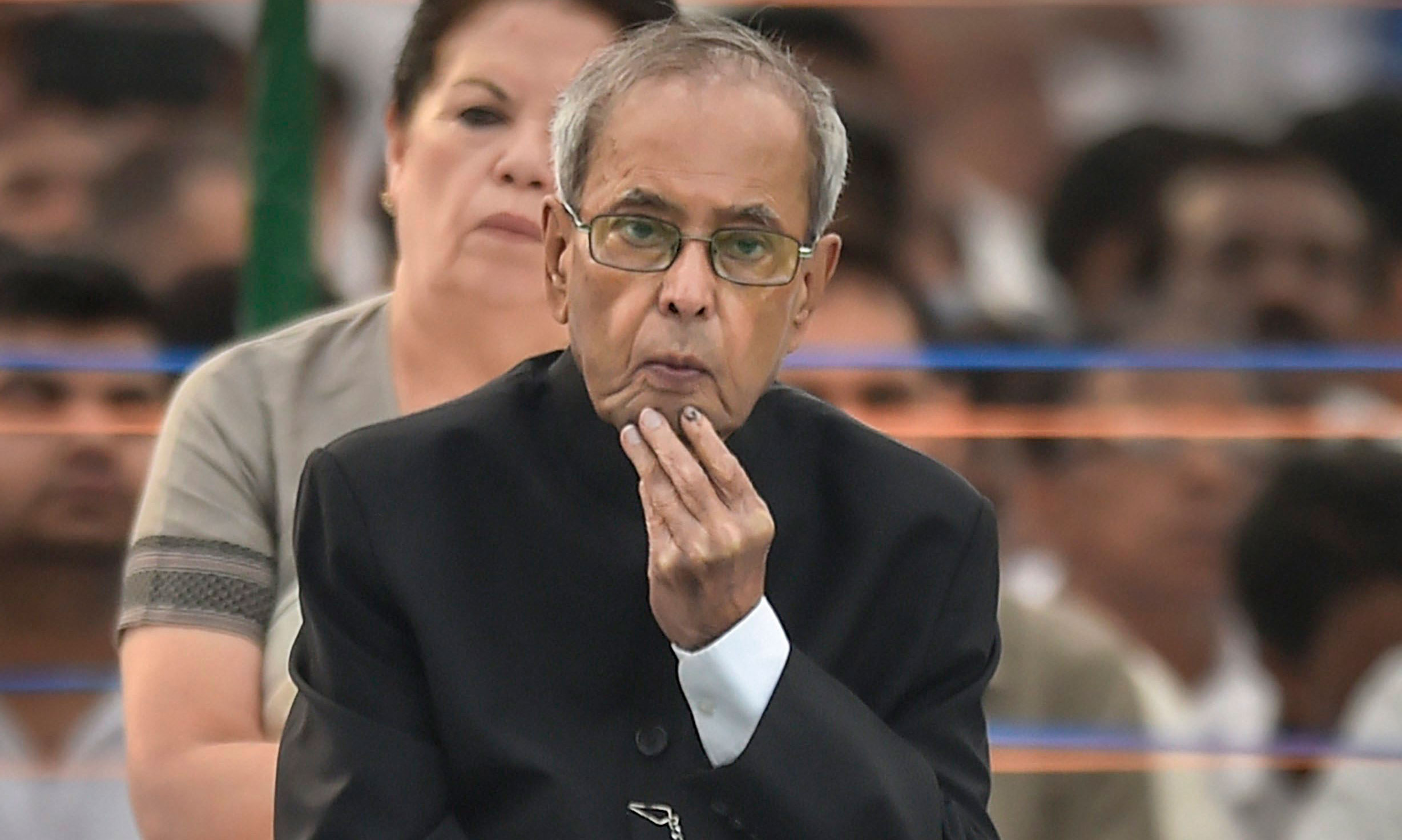 Pranab Mukherjee after paying tribute to Rajiv Gandhi on his 28th death anniversary, at his memorial 'Veer Bhumi' in New Delhi, on May 21, 2019.
