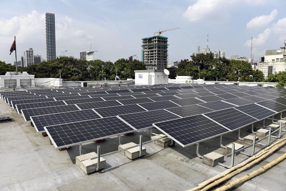 Solar panels on the terrace at Calcutta Club