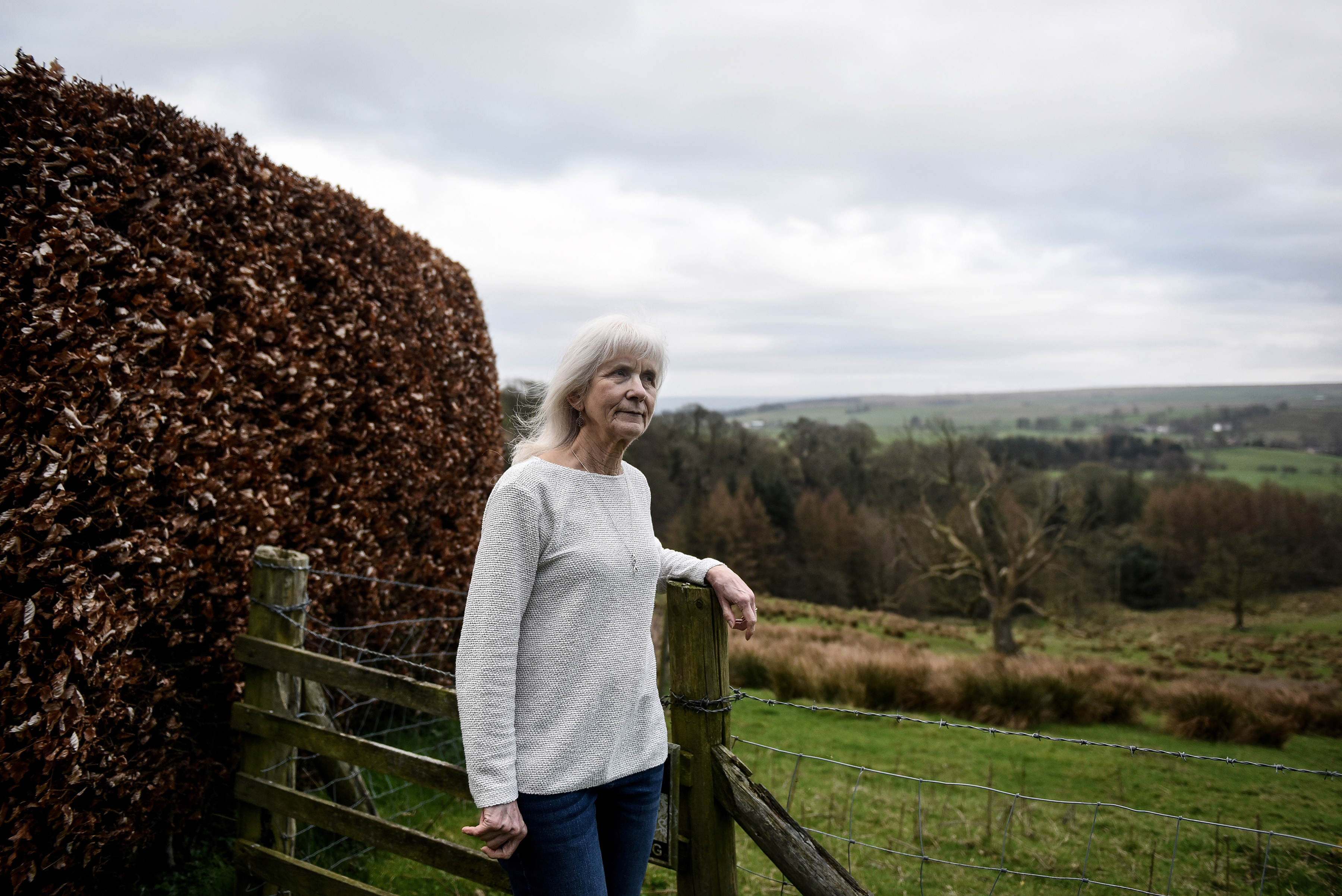 Jo Cameron, 71, who has a rare gene mutation that scientists believe inhibits her from feeling pain or anxiety, in Gilsland, England, in March 27 2019.